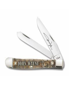 """Case John Wayne Trapper 4.125"""" with Laser Embellished Natural Bone Handles and Tru Sharp Surgical Steel Plain Edge Blades Model 10699"""