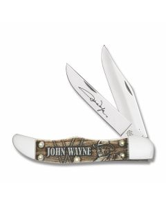 "Case John Wayne Folding Hunter 5.25"" with Natural Smooth Bone Handles and Tru-Sharp Surgical Steel Plain Edge Blades Model 10700"