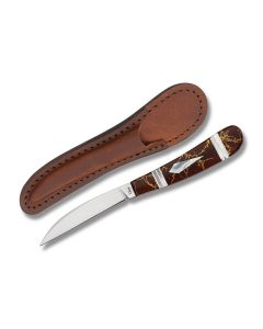 """Case Desk Knife with Exotic Red Gold Matrix Handle and Tru-Sharp Surgical Steel 3"""" Wharncliffe Plain Edge Blades Model 11099"""