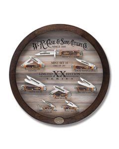 Case Limited XX Edition XXXIII Set with Burnt Barnboard Jigged Brown Bone Handles and Tru-Sharp Surgical Steel Plain Edge Blades Model 11750