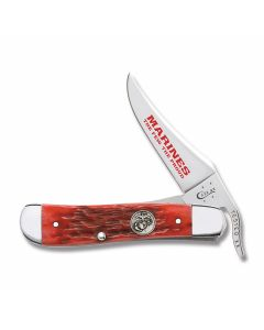 "Case U.S. Armed Forces Marine Corps RussLock 4.125"" with Dark Red Jigged Bone Handles and Tru-Sharp Surgical Steel Clip Point Plain Edge Blade Model 13179"