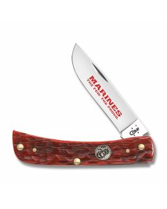 Case U.S. Armed Forces Marine Corps Dark Red Jigged Bone Sod Buster Jr Tru-Sharp Surgical Steel Blade