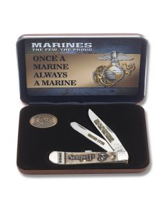 """Case U.S. Armed Forces Marines Trapper 4.125"""" with Natural Bone Handles and Tru-Sharp Surgical Steel Plain Edge Blades Model 13183"""