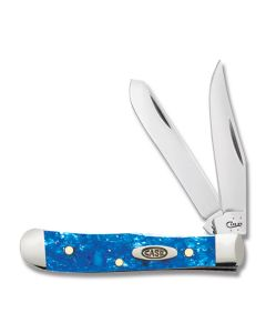"Case Tiny Trapper 2.375"" with Blue Sparkle Kirinite Handles and Tru-Sharp Surgical Steel Plain Edge Blade Model 13533"