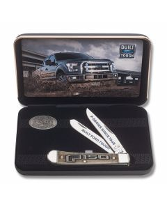 "Case Ford F150 Boxed Trapper 4.125"" Set with Embellished Natural Bone Handles and Tru-Sharp Surgical Steel Plain Edge Blades Model 14314"