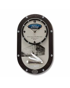 "Case Ford Commemorative Clock and Trapper 4.125"" Set with Natural Bone Handles and Tru-Sharp Surgical Steel Plain Edge Blades Model 14320"