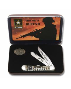 Case U.S. Armed Forces Army Trapper with Natural Boon Handle and Tru-Sharp Surgical Steel Plain Edge Blades Model 15000