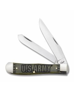 """Case U.S. Armed Forces Army Trapper 4.125"""" with Olive Green Smooth Bone Handles and Tru-Sharp Surgical Steel Plain Edge Blades Model 15001"""