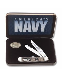 "Case U.S. Armed Forces Navy Trapper 4.125"" with Natural Bone Handles and Tru-Sharp Surgical Steel Plain Edge Blades Model 17700"
