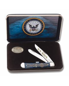 Case US Navy Blue Bone Trapper Tru-Sharp Surgical Steel Blades