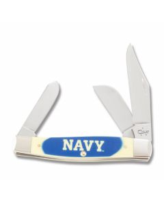 """Case US Navy Stockman"""" with Yellow Delrin Handles and Tru Sharp Surgical Steel Plain Edge Blades Model 17714"""