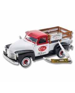 "Case 125th Anniversary Ertl Truck and Small Texas Toothpick 3"" Set with Olive Smooth Bone Handles and Tru-Sharp Surgical Steel Plain Edge Blades Model 18800"