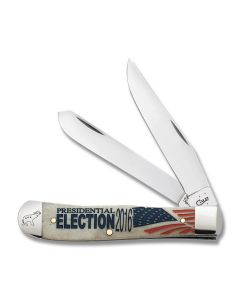 """Case 2016 Presidential Repulican Elephant Trapper 4.125"""" with Natural Bone Handle and Tru-Sharp Surgical Steel Plain Edge Blades Model 21492"""