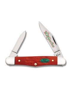 "Case Christmas Half Whittler 3.25"" with Rough Dark Red Synthetic Handles and Tru-Sharp Surgical Steel Plain Edge Blades Model 25676"