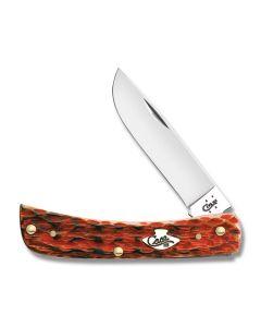 "Case Sod Buster Jr. 3.625"" with Peach Seed Jigged Burnt Salmon Bone Handles and Tru-Sharp Surgical Steel Plain Edge Blades Model 27051"