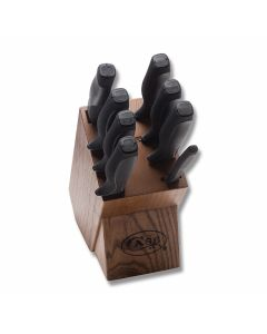 Case Nine Piece Knife Block Set with Black Synthetic Handles and Tru-Sharp Surgical Steel Blades Model 31725