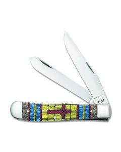 Case Cross Stained Glass Natural Bone Trapper Tru-Sharp Surgical Steel Blades