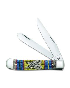 Case Angel Wings Stained Glass Natural Bone Trapper Tru-Sharp Surgical Steel Blades