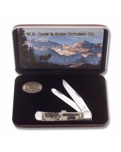 "Case North American Elk Wildlife Series Trapper 4.125"" with Embellished Natural Bone Handles and Tru-Sharp Surgical Steel Plain Edge Blades Model 50406"