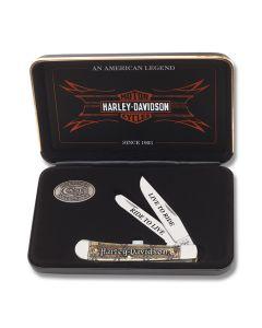 "Case Harley-Davidson Trapper 4.125"" Gift Set with Smooth Natural Bone Handles and Tru-Sharp Surgical Steel Plain Edge Blades Model 52131"