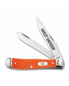 "Case Harley Davidson Trapper 4.125"" with Jigged Orange Synthetic Handles and Tru Sharp Surgical Steel Plain Edge Blades Model 52183"