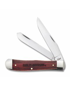"Case Harley Davidson Trapper 4.125"" with Natural Bone Handles and Tru Sharp Surgical Steel Plain Edge Blades Model 52187"