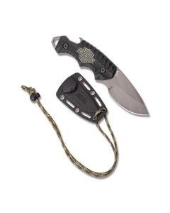 "Tec X FB-3 Neck Knife 6"" with Black G-10 Handle and High Grade 440 Stainless Steel Full Tang Drop Point Blade Model 52207"