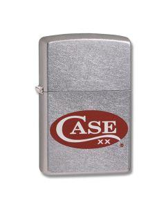 Zippo Case Satin Chrome Red Case Logo Lighter Model 52470