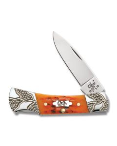 "Case Worked Bolster Lockback 3"" with Autumn Jigged Bone Handles and Tru-Sharp Surgical Steel Drop Point Plain Edge Blade Model 53228"