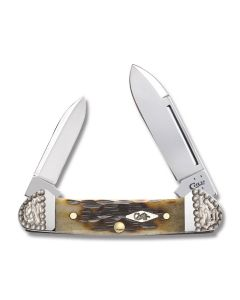 "Case Worked Bolster Baby Butterbean 2.75"" with Peach Seed Jigged Dark Molasses Bone Handles and Tru-Sharp Surgical Steel Plain Edge Blades Model 53234"