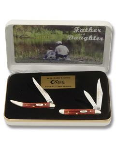 Case Father & Daughter Set with Pocket Worn Old Red Bone Handles and Tru-Sharp Surgical Steel Plain Edge Blades