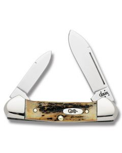 "Case Baby Butterbean 2.75"" with Genuine India Stag Handles and Tru-Sharp Surgical Steel Plain Edge Blades Model 5537"