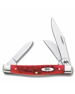 "Case Medium Stockman 3.625"" with Dark Red Jigged Bone Handles and Chrome Vanadium Plain Edge Blades Model 6981"