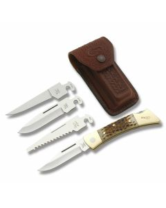 "Case XX Changer 5"" with Amber Jigged Bone Handles and Tru-Sharp Surgical Steel Blades Model 70050"