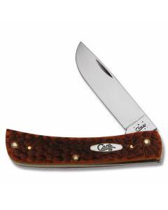 Case Sod Buster Jr 3.625 with Chestnut Jigged Bone Handles and Chrome Vanadium Plain Edge Blades Model 7014