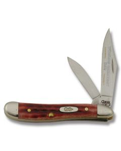 "Case ""World's Greatest Dad"" Peanut 2.875"" with Pocket Worn Old Red Bone Handles and Tru-Sharp Surgical Steel Plain Edge Blades Model 781WGD"