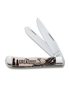 "Case Great Smoky Mountains 3rd Release Trapper 4.125"" with Smooth Natural Bone Handles and Tru-Sharp Surgical Steel Plain Edge Blades"