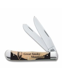 "Case Great Smoky Mountains Trapper 4.125"" with Smooth Natural Bone Handles and Tru-Sharp Surgical Steel Plain Edge Blades Model 91005GSM"
