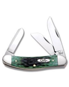 "Case Sowbelly 3.875"" with Pocket Worn Bermuda Green Bone Handles and Tru-Sharp Surgical Steel Plain Edge Blades Model 9769"