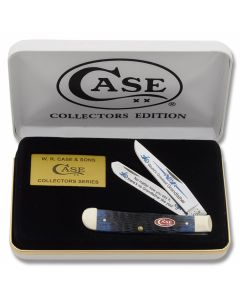 "Case World's Greatest Grandfather Trapper 4.125"" with Blue Jigged Bone Handles and Tru-Sharp Surgical Steel Plain Edge Blades Model BB-GRANDFATHER"