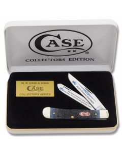 "Case World's Greatest Grandson Trapper 4.125"" with Blue Jigged Bone Handles and Tru-Sharp Surgical Steel Plain Edge Blades Model BB-GRANDSON"