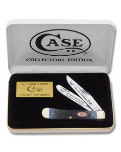 "Case World's Greatest Son Trapper Trapper 4.125"" with Blue Jigged Bone Handles and Tru-Sharp Surgical Steel Plain Edge Blades Model BB-SON"