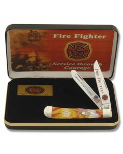 "Case ""Service Through Courage"" Firefighter Commemorative Trapper 4.125"" with Red and Yellow Swirl Corelon Handles and Tru-Sharp Surgical Steel Plain Edge Blades Model CAT-FF"