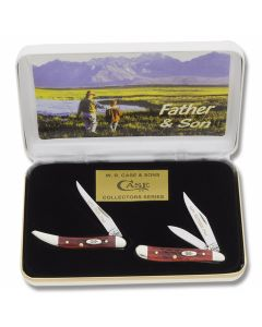 Case Father and Son Toothpick and Peanut Set with Pocketworn Old Red Bone Handles and Tru-Sharp Surgical Steel Plain Edge Blades Model RPW-F&S