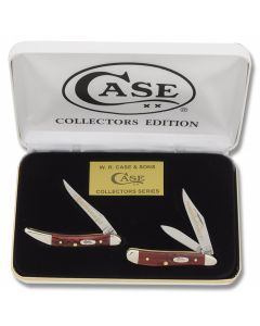 Case Grandfather and Grandson Toothpick and Peanut Set with Pocketworn Old Red Bone Handles and Tru-Sharp Surgical Steel Plain Edge Blades Model RPW-GF&GS