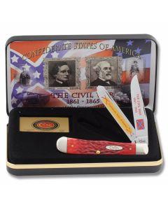 "Case Confederate States of America Civil War Commemorative Trapper 4.125"" with Red Pickbone Handles and Tru-Sharp Surgical Steel Plain Edge Blades Model CAT1861RPB"