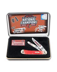 Case Louisville 2013 NCAA Men's Basketball National Champions Red Jigged Bone Trapper Tru-Sharp Surgical Steel Blades