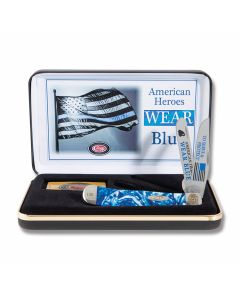 """Case American Police Trapper 4.125"""" with Blue and White Corelon Handles and Tru-Sharp Surgical Steel Plain Edge Blades Model CAT-BC/BLUE"""