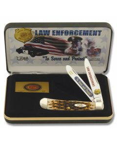 """Case To Serve and Protect Law Enforcement Commemorative Trapper 4.125"""" with Amber Jigged Bone Handles and Tru-Sharp Surgical Steel Plain Edge Blades Model CAT-LE"""