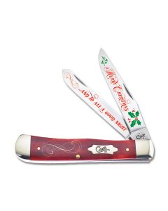"Case Santa Christmas Trapper 4.125"" with Red Smooth Bone Handle and Tru-Sharp Surgical Steel Blades Model CAT MC RSB"